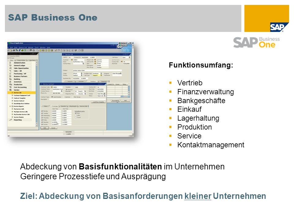 SAP Business One Funktionsumfang: Vertrieb Finanzverwaltung Bankgeschäfte Einkauf Lagerhaltung Produktion Service Kontaktmanagement Abdeckung von Basi