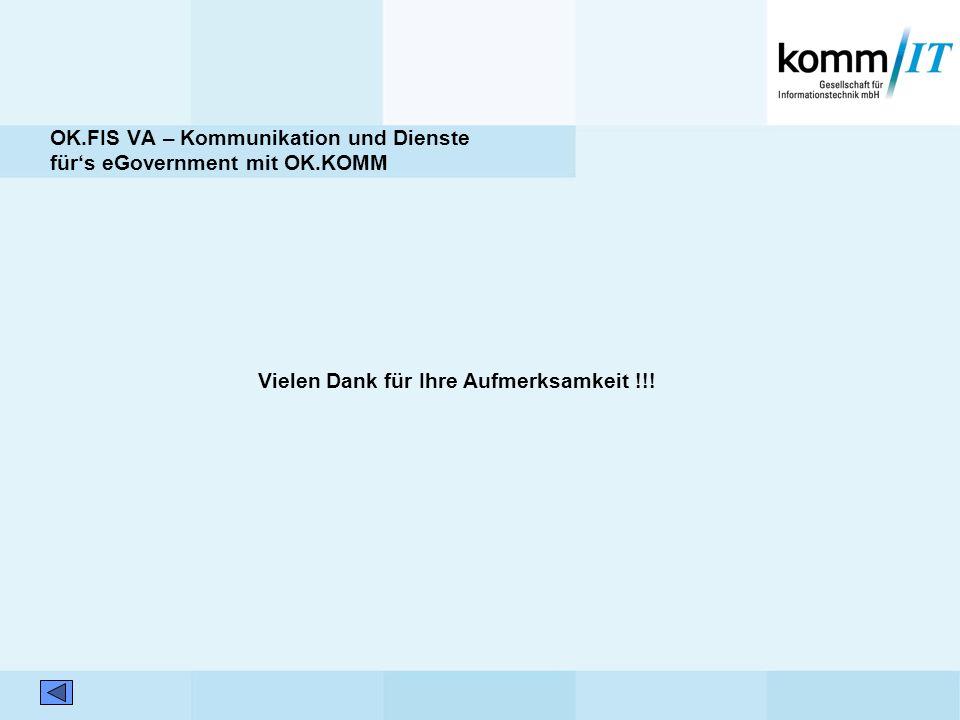 OK.FIS VA – Kommunikation und Dienste fürs eGovernment mit OK.KOMM Vielen Dank für Ihre Aufmerksamkeit !!!