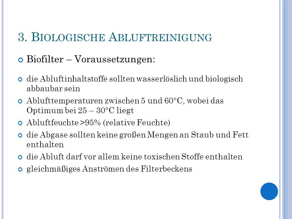 3. B IOLOGISCHE A BLUFTREINIGUNG Biofilter – Voraussetzungen: die Abluftinhaltstoffe sollten wasserlöslich und biologisch abbaubar sein Ablufttemperat