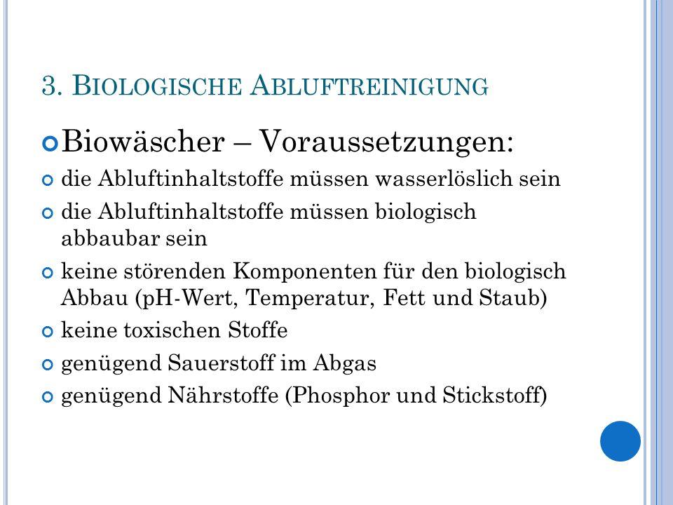 3. B IOLOGISCHE A BLUFTREINIGUNG Biowäscher – Voraussetzungen: die Abluftinhaltstoffe müssen wasserlöslich sein die Abluftinhaltstoffe müssen biologis