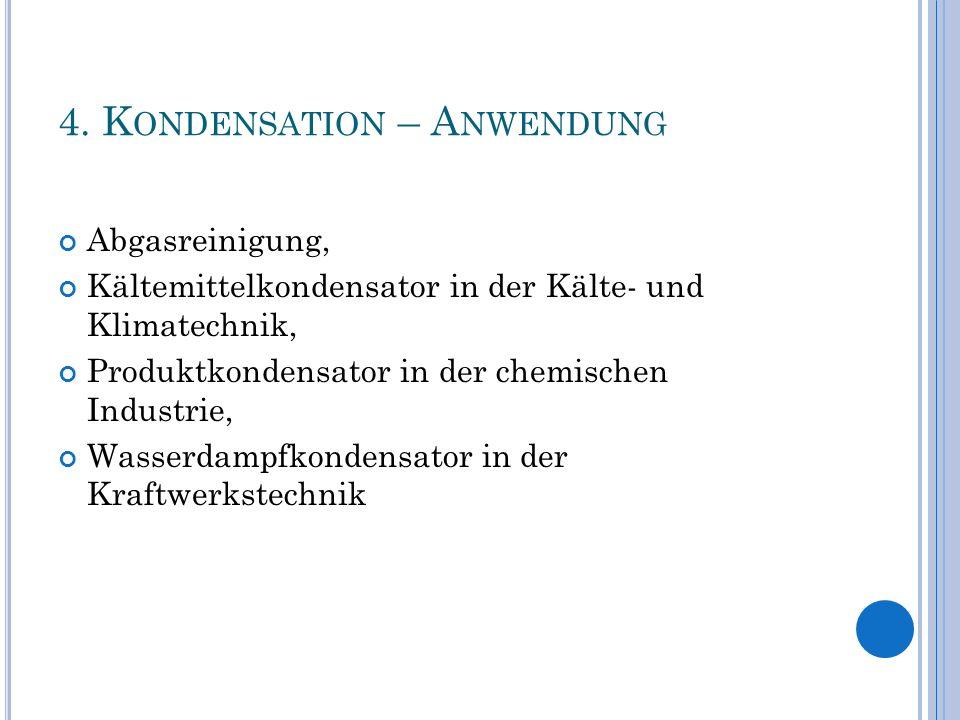 4. K ONDENSATION – A NWENDUNG Abgasreinigung, Kältemittelkondensator in der Kälte- und Klimatechnik, Produktkondensator in der chemischen Industrie, W