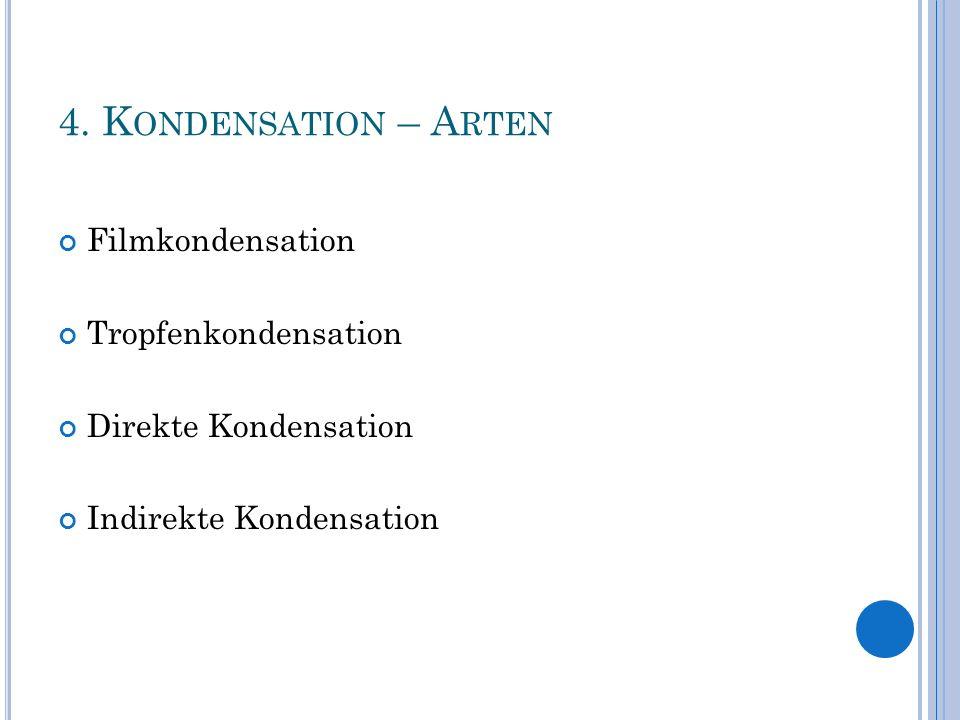 4. K ONDENSATION – A RTEN Filmkondensation Tropfenkondensation Direkte Kondensation Indirekte Kondensation