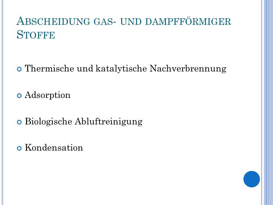 A BSCHEIDUNG GAS - UND DAMPFFÖRMIGER S TOFFE Thermische und katalytische Nachverbrennung Adsorption Biologische Abluftreinigung Kondensation