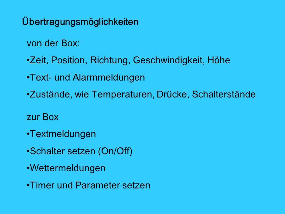 Übertragungsmöglichkeiten von der Box: Zeit, Position, Richtung, Geschwindigkeit, Höhe Text- und Alarmmeldungen Zustände, wie Temperaturen, Drücke, Schalterstände zur Box Textmeldungen Schalter setzen (On/Off) Wettermeldungen Timer und Parameter setzen