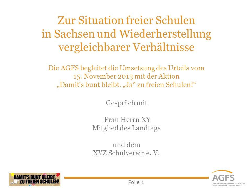 Folie 1 Zur Situation freier Schulen in Sachsen und Wiederherstellung vergleichbarer Verhältnisse Die AGFS begleitet die Umsetzung des Urteils vom 15.