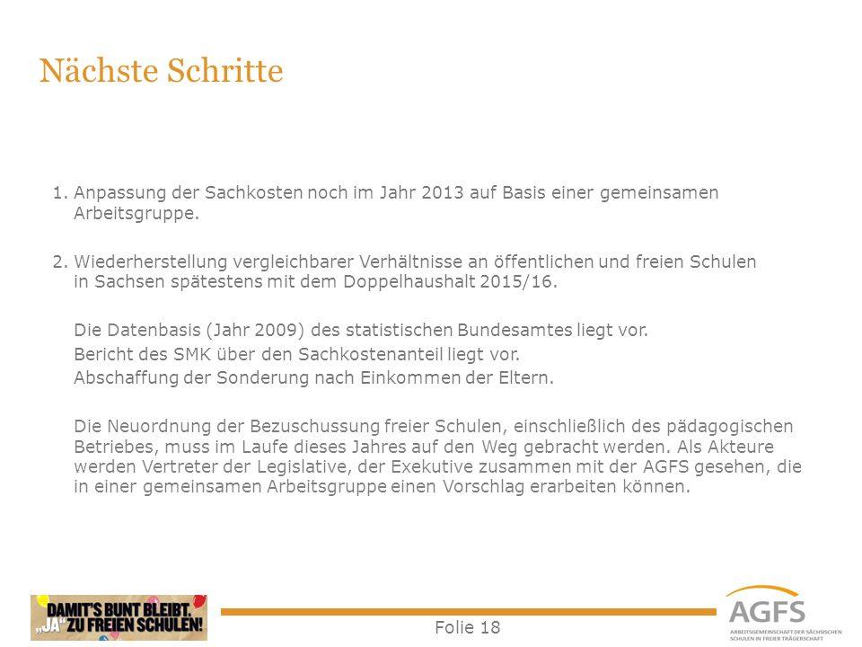 Folie 18 1.Anpassung der Sachkosten noch im Jahr 2013 auf Basis einer gemeinsamen Arbeitsgruppe. 2.Wiederherstellung vergleichbarer Verhältnisse an öf