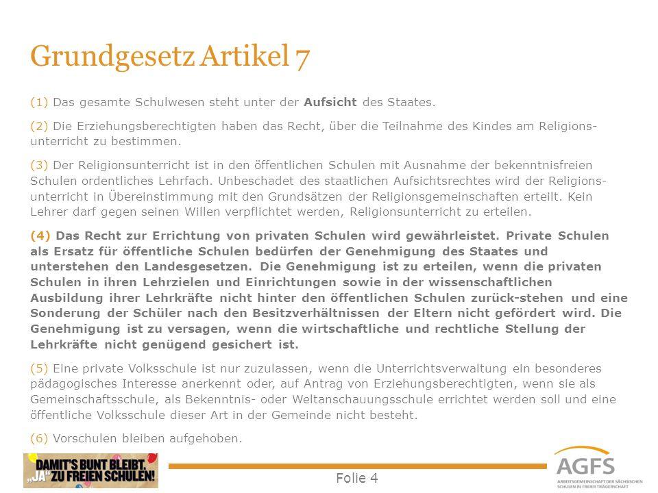Folie 4 Grundgesetz Artikel 7 (1) Das gesamte Schulwesen steht unter der Aufsicht des Staates. (2) Die Erziehungsberechtigten haben das Recht, über di