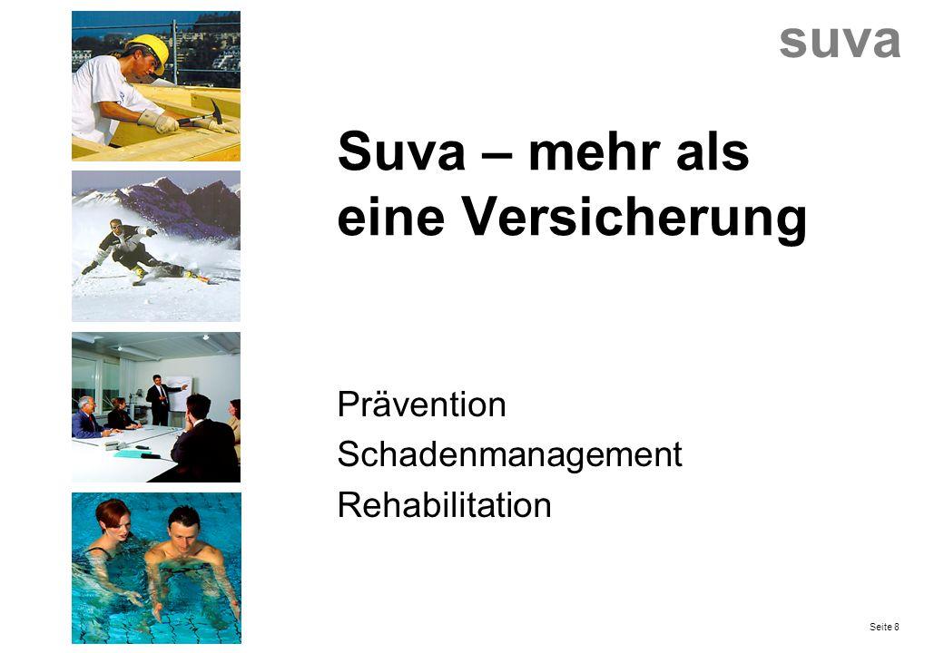 Suva – mehr als eine Versicherung Prävention Schadenmanagement Rehabilitation suva Seite 8