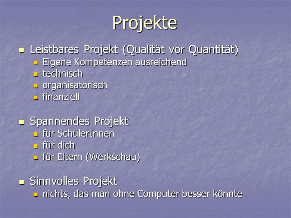 Projekte Leistbares Projekt (Qualität vor Quantität) Leistbares Projekt (Qualität vor Quantität) Eigene Kompetenzen ausreichend Eigene Kompetenzen aus