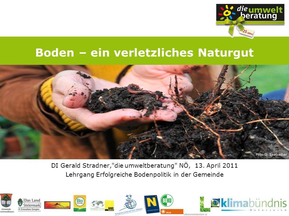 DI Gerald Stradner, die umweltberatung NÖ, 13.April 2011, Lehrgang Erfolgreiche Bodenpolitik in der Gemeinde Bodenbildung 1 Foto: Robert Kraner