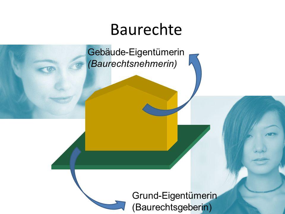 Baurechte Gebäude-Eigentümerin (Baurechtsnehmerin) Grund-Eigentümerin (Baurechtsgeberin)