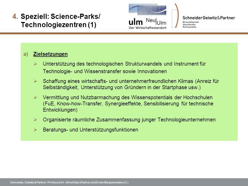Schneider, Geiwitz & Partner I Professor Dr. Alfred Katz (Partner und Erster Bürgermeister a.D.) 4.Speziell: Science-Parks/ Technologiezentren (1) a)Z