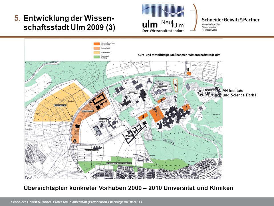 Schneider, Geiwitz & Partner I Professor Dr. Alfred Katz (Partner und Erster Bürgermeister a.D.) 5.Entwicklung der Wissen- schaftsstadt Ulm 2009 (3) Ü