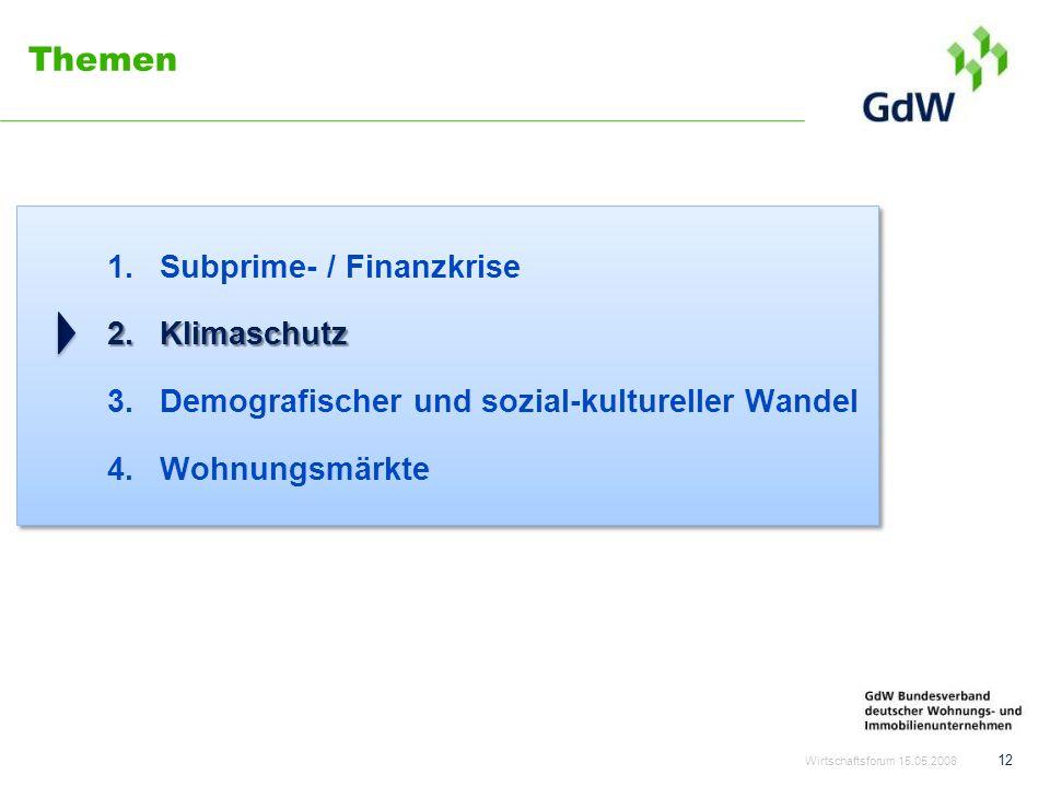 Themen 1.Subprime- / Finanzkrise 2.Klimaschutz 3.Demografischer und sozial-kultureller Wandel 4.Wohnungsmärkte Wirtschaftsforum 15.05.2008 12