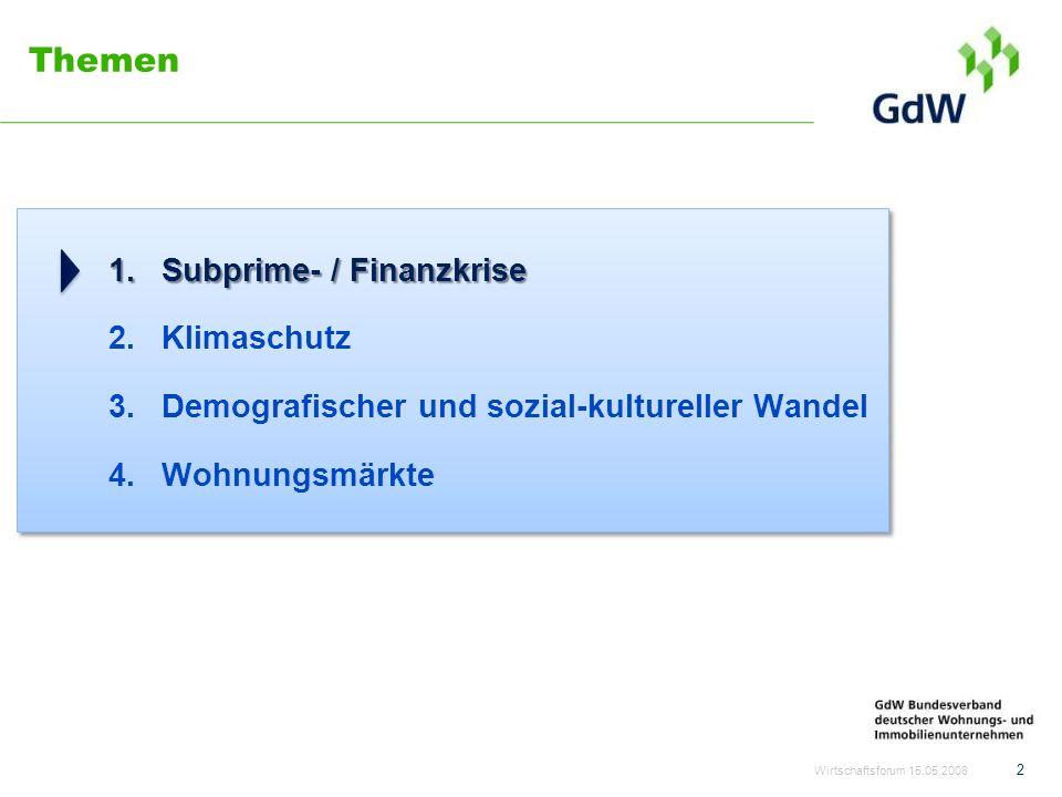 Themen 1.Subprime- / Finanzkrise 2.Klimaschutz 3.Demografischer und sozial-kultureller Wandel 4.Wohnungsmärkte Wirtschaftsforum 15.05.2008 2
