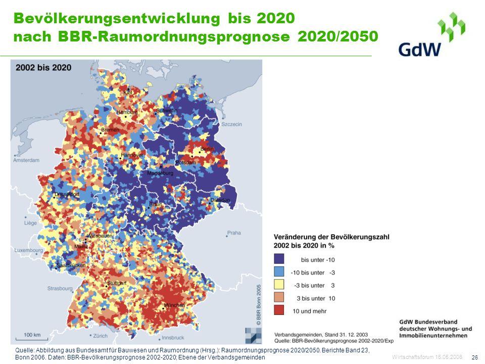 26 Bevölkerungsentwicklung bis 2020 nach BBR-Raumordnungsprognose 2020/2050 Quelle: Abbildung aus Bundesamt für Bauwesen und Raumordnung (Hrsg.): Raum
