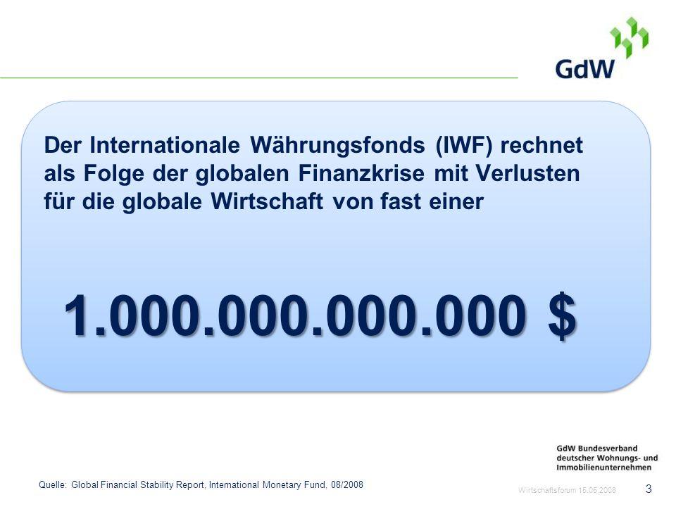 Der Internationale Währungsfonds (IWF) rechnet als Folge der globalen Finanzkrise mit Verlusten für die globale Wirtschaft von fast einer 1.000.000.00