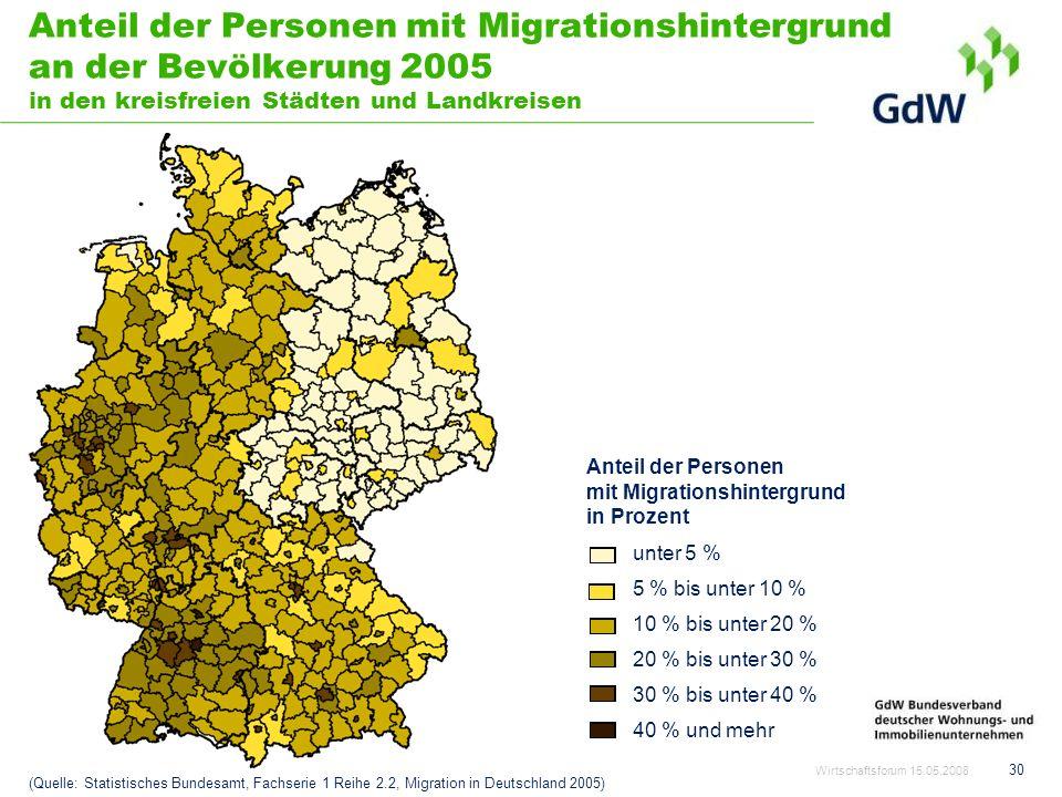 30 Anteil der Personen mit Migrationshintergrund an der Bevölkerung 2005 in den kreisfreien Städten und Landkreisen (Quelle: Statistisches Bundesamt,