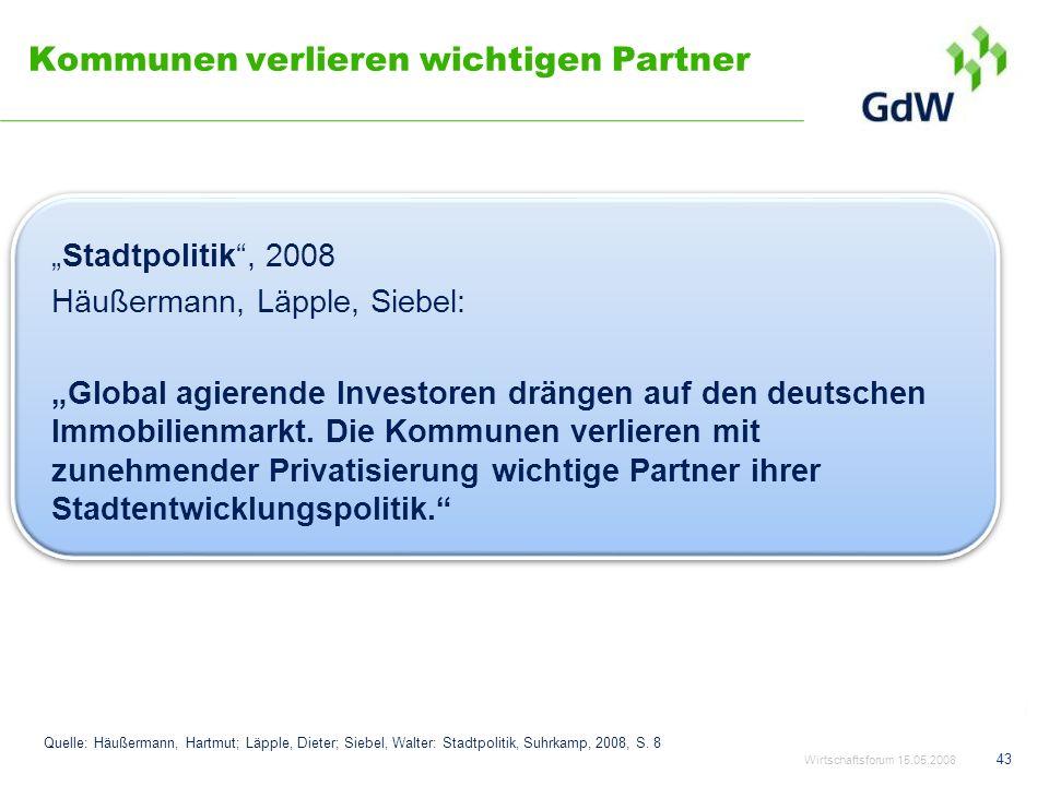 Kommunen verlieren wichtigen Partner Stadtpolitik, 2008 Häußermann, Läpple, Siebel: Global agierende Investoren drängen auf den deutschen Immobilienma