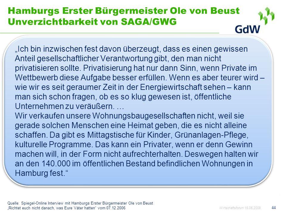 Hamburgs Erster Bürgermeister Ole von Beust Unverzichtbarkeit von SAGA/GWG Ich bin inzwischen fest davon überzeugt, dass es einen gewissen Anteil gese
