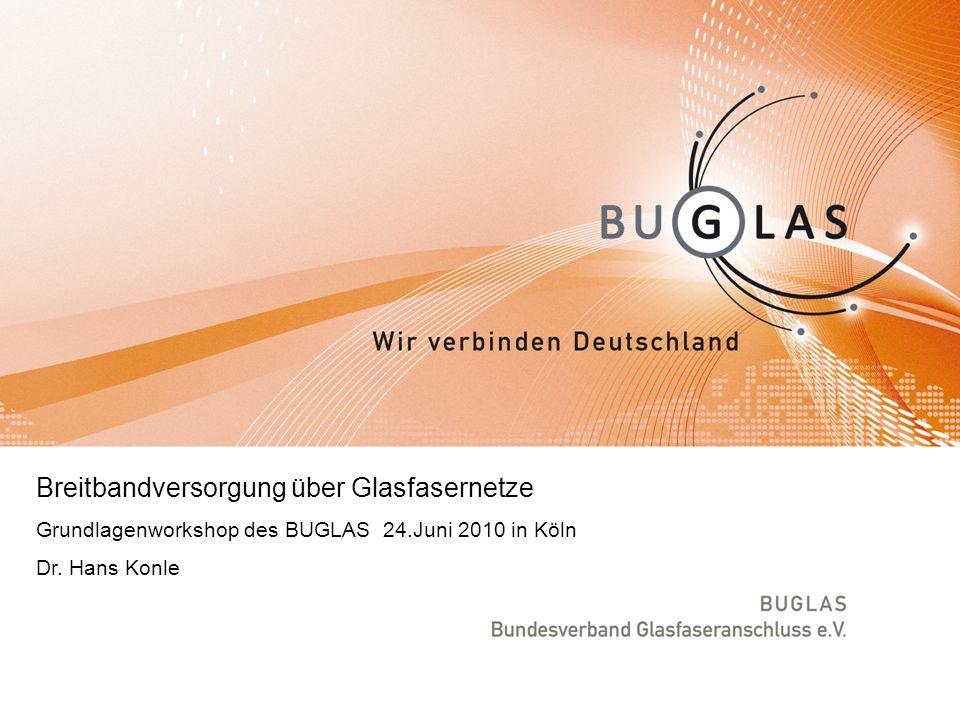 Breitbandversorgung über Glasfasernetze Grundlagenworkshop des BUGLAS 24.Juni 2010 in Köln Dr.