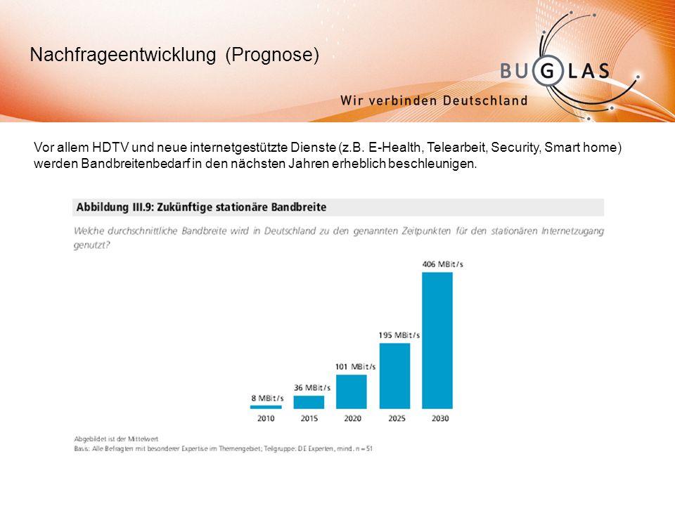 Nachfrageentwicklung (Prognose) Vor allem HDTV und neue internetgestützte Dienste (z.B.
