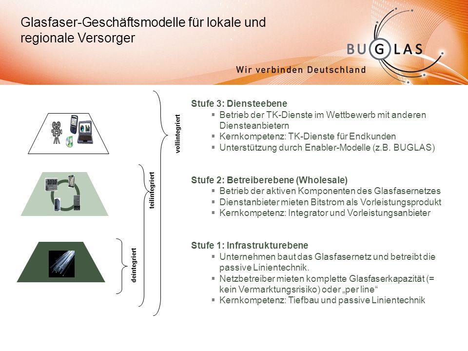 Glasfaser-Geschäftsmodelle für lokale und regionale Versorger Stufe 3: Diensteebene Betrieb der TK-Dienste im Wettbewerb mit anderen Diensteanbietern Kernkompetenz: TK-Dienste für Endkunden Unterstützung durch Enabler-Modelle (z.B.