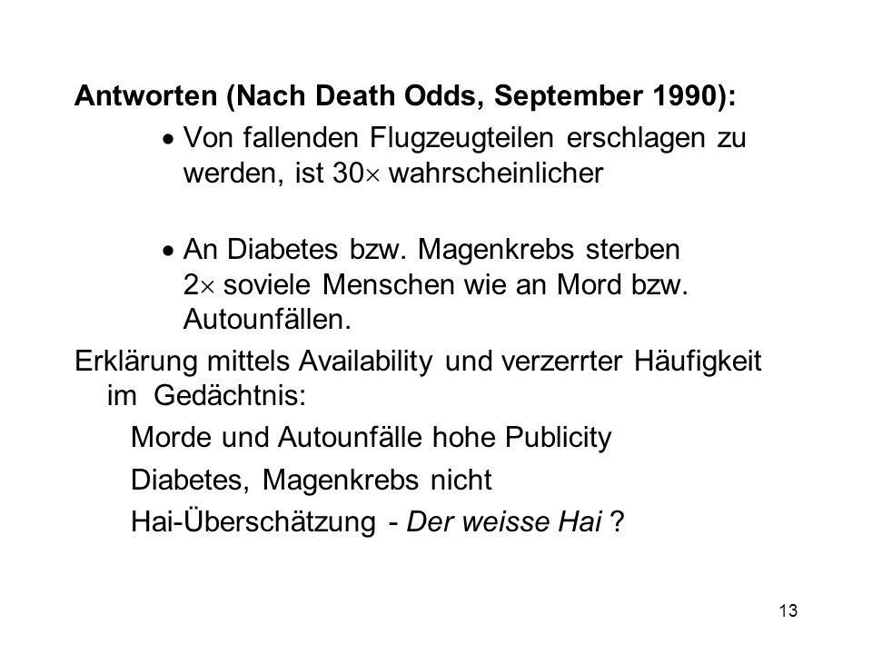 13 Antworten (Nach Death Odds, September 1990): Von fallenden Flugzeugteilen erschlagen zu werden, ist 30 wahrscheinlicher An Diabetes bzw. Magenkrebs