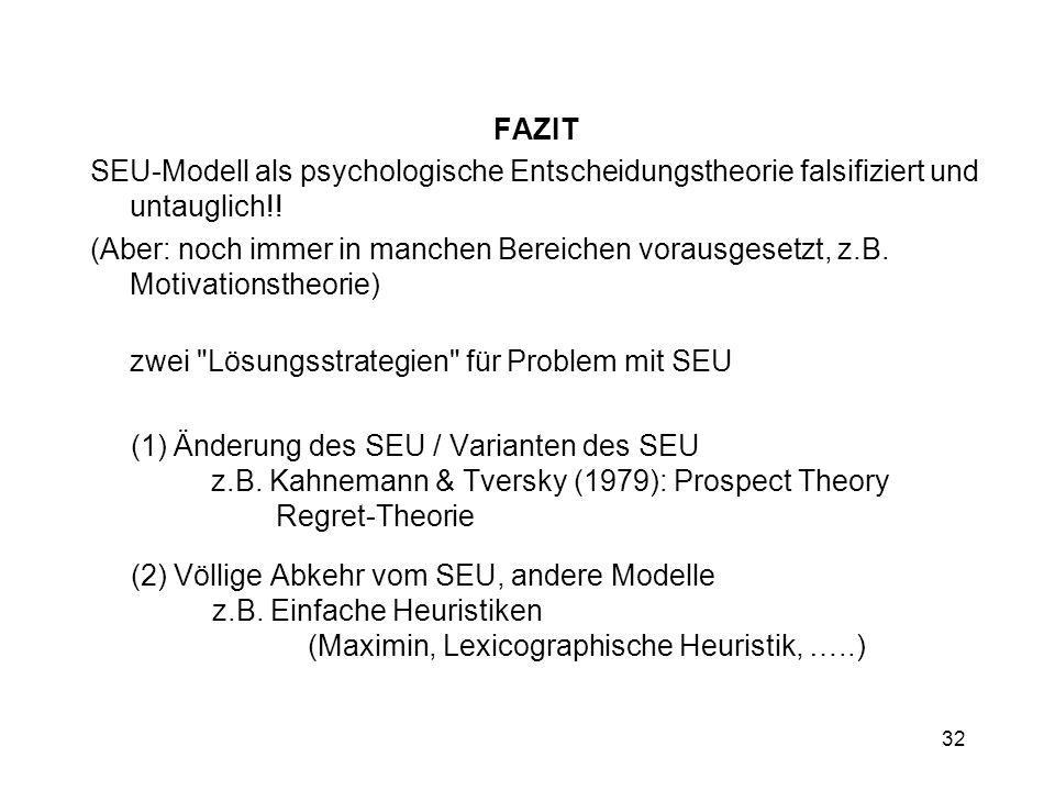32 FAZIT SEU-Modell als psychologische Entscheidungstheorie falsifiziert und untauglich!! (Aber: noch immer in manchen Bereichen vorausgesetzt, z.B. M
