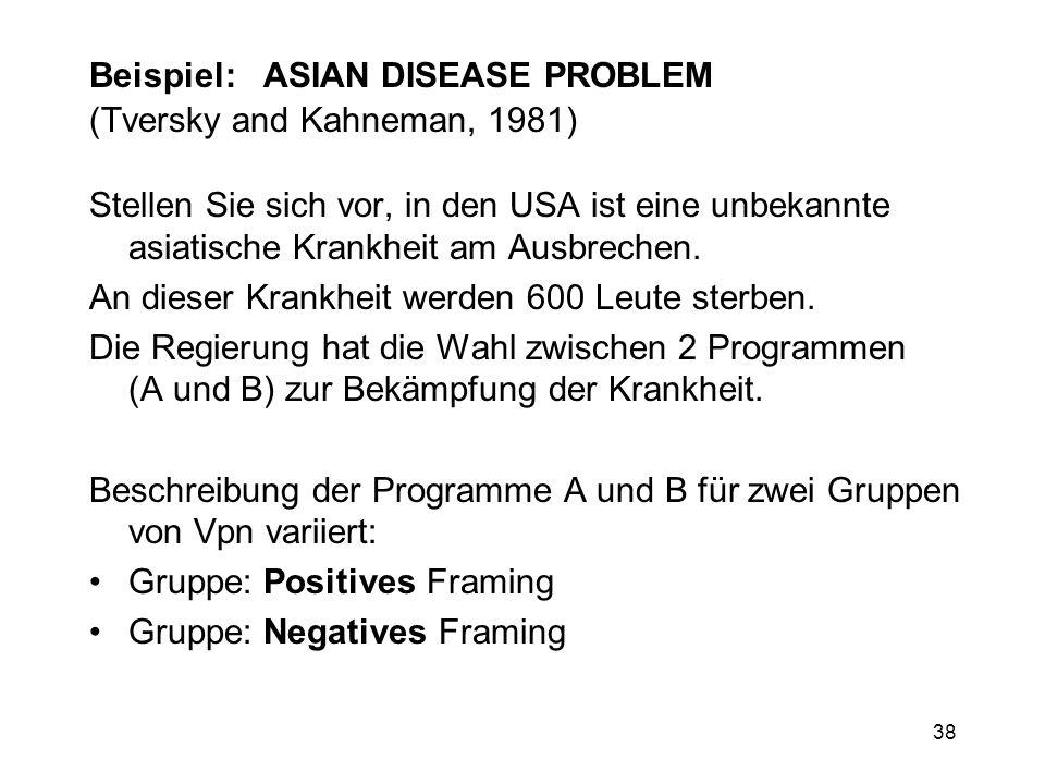 38 Beispiel: ASIAN DISEASE PROBLEM (Tversky and Kahneman, 1981) Stellen Sie sich vor, in den USA ist eine unbekannte asiatische Krankheit am Ausbreche