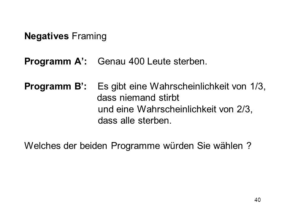 40 Negatives Framing Programm A: Genau 400 Leute sterben. Programm B: Es gibt eine Wahrscheinlichkeit von 1/3, dass niemand stirbt und eine Wahrschein