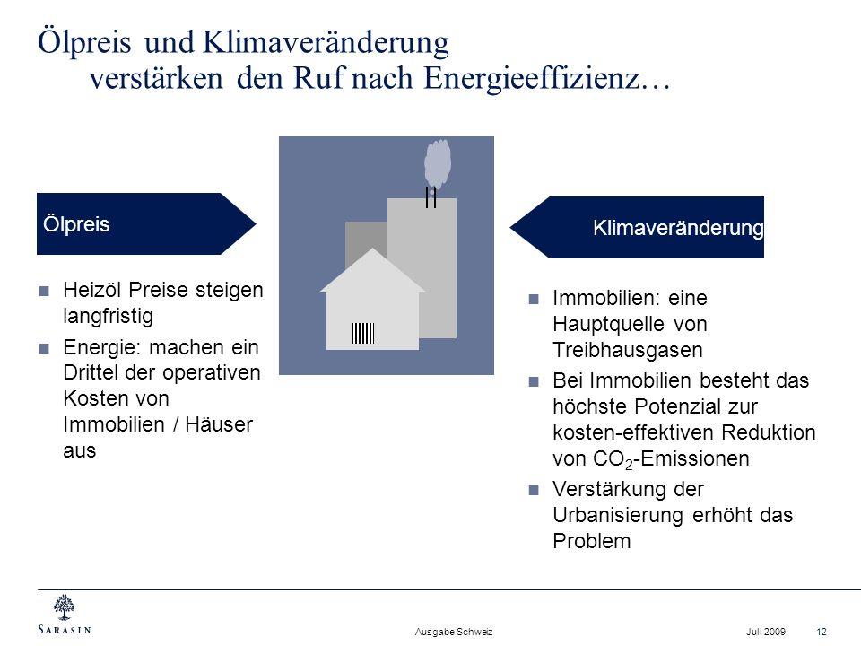Ausgabe Schweiz Juli 200912 Ölpreis und Klimaveränderung verstärken den Ruf nach Energieeffizienz… Ölpreis Klimaveränderung Heizöl Preise steigen lang