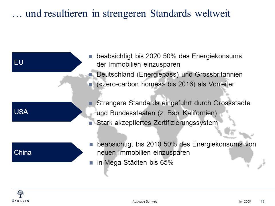 Ausgabe Schweiz Juli 200913 … und resultieren in strengeren Standards weltweit beabsichtigt bis 2010 50% des Energiekonsums von neuen Immobilien einzu