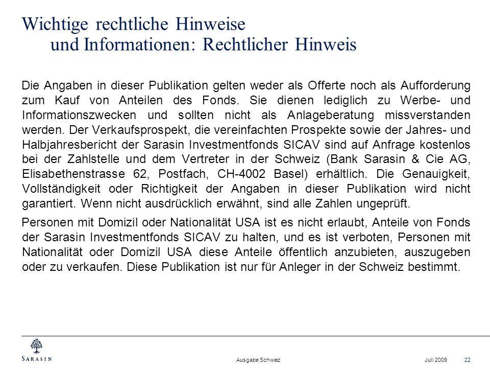 Ausgabe Schweiz Juli 200922 Wichtige rechtliche Hinweise und Informationen: Rechtlicher Hinweis Die Angaben in dieser Publikation gelten weder als Off