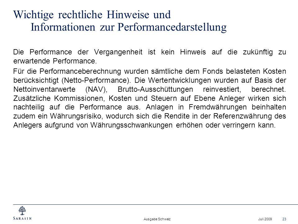 Ausgabe Schweiz Juli 200923 Wichtige rechtliche Hinweise und Informationen zur Performancedarstellung Die Performance der Vergangenheit ist kein Hinwe