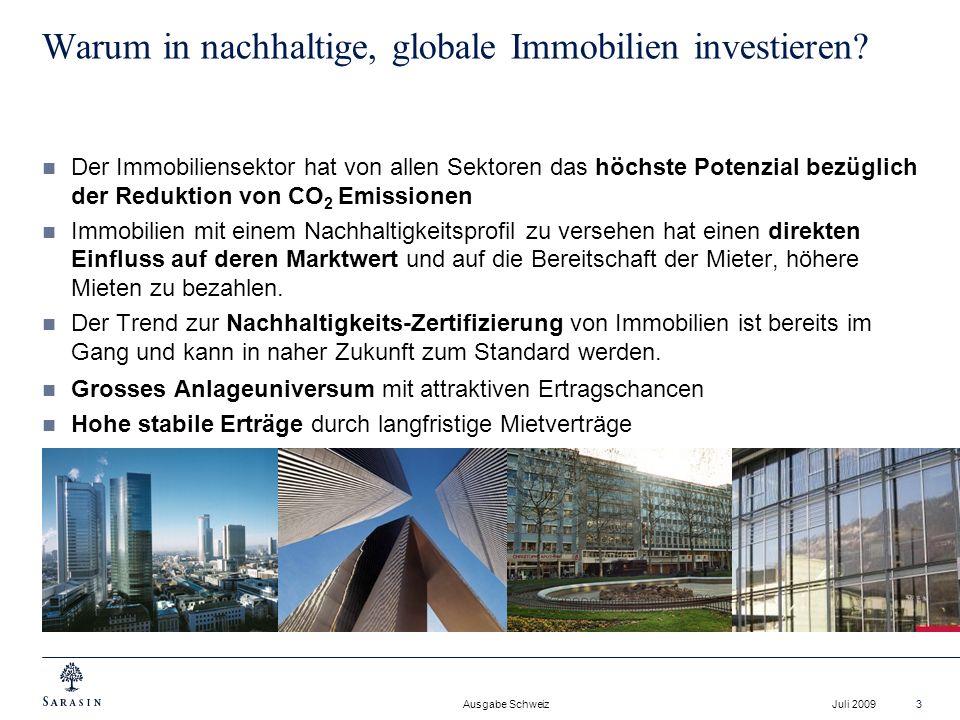 Ausgabe Schweiz Juli 200914 Vorteile von REITs (= Real Estate Investment Trusts) REIT sind börsenkotierte geschlossene Immobilienfonds REIT investieren direkt in Immobilien oder in Gesellschaften, die sich im Bereich der Immobilienverwaltung, in der Planung und der Realisierung von Immobilienprojekten betätigen.