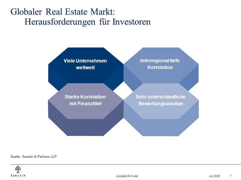Ausgabe Schweiz Juli 20097 Interregional tiefe Korrelation Globaler Real Estate Markt: Herausforderungen für Investoren Quelle: Sarasin & Partners LLP
