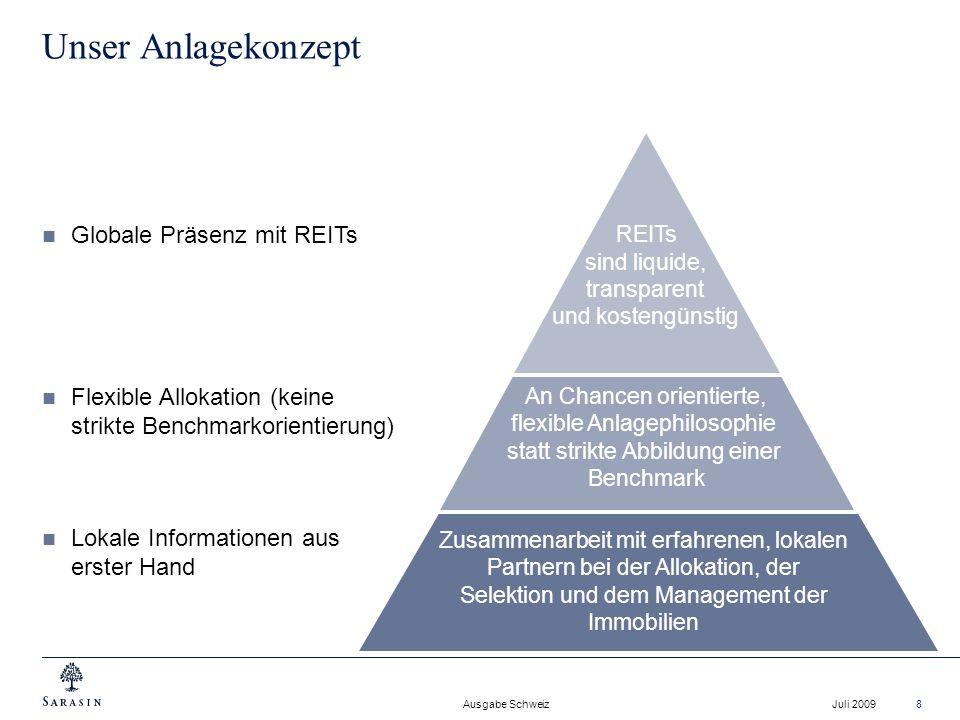 Ausgabe Schweiz Juli 20098 Unser Anlagekonzept REITs sind liquide, transparent und kostengünstig An Chancen orientierte, flexible Anlagephilosophie st