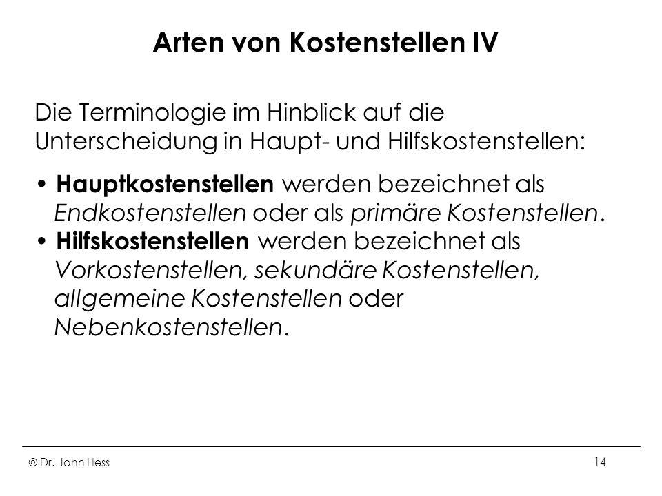 © Dr. John Hess14 Arten von Kostenstellen IV Die Terminologie im Hinblick auf die Unterscheidung in Haupt- und Hilfskostenstellen: Hauptkostenstellen