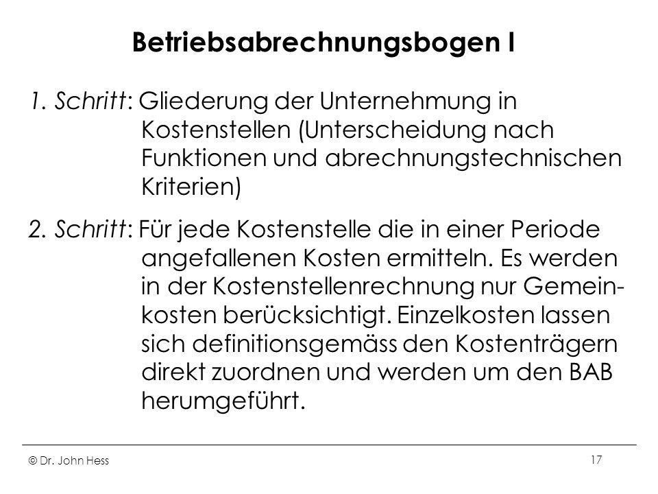 © Dr. John Hess17 Betriebsabrechnungsbogen I 1. Schritt: Gliederung der Unternehmung in Kostenstellen (Unterscheidung nach Funktionen und abrechnungst