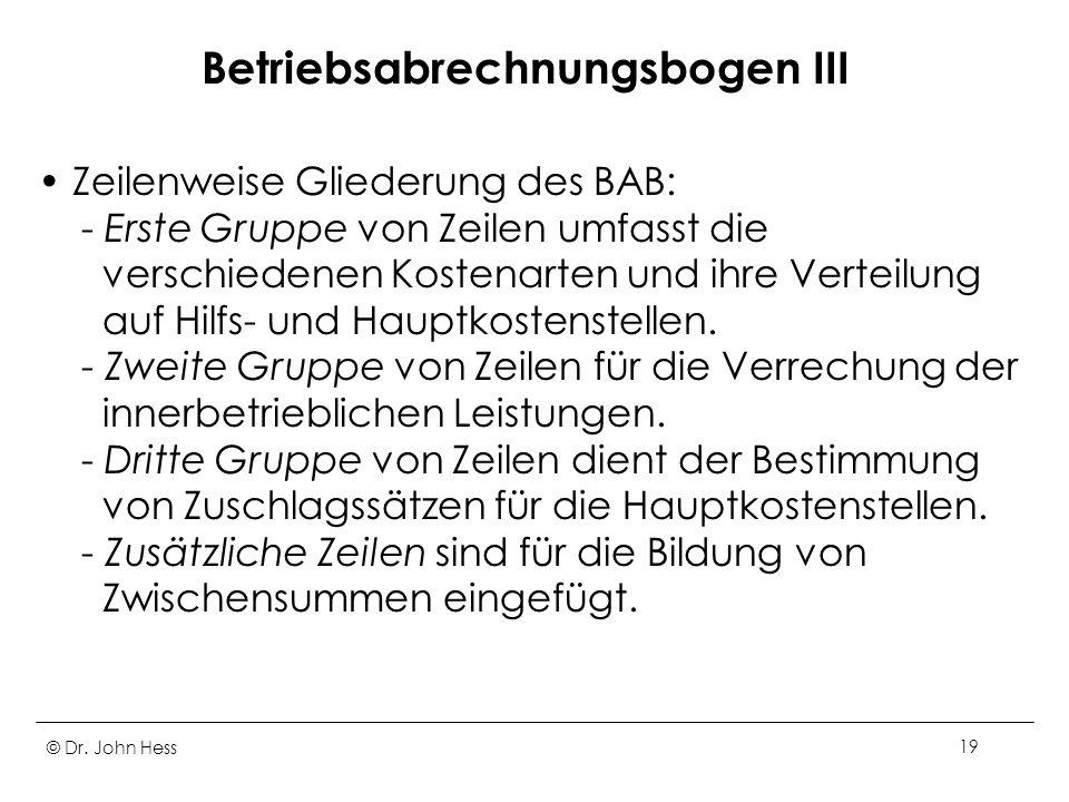© Dr. John Hess19 Betriebsabrechnungsbogen III Zeilenweise Gliederung des BAB: - Erste Gruppe von Zeilen umfasst die verschiedenen Kostenarten und ihr