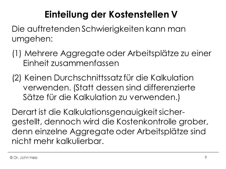 © Dr. John Hess20 Betriebsabrechnungsbogen IV
