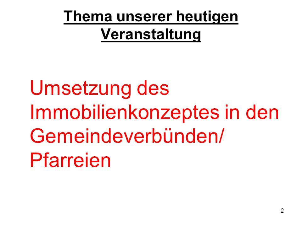 2 Thema unserer heutigen Veranstaltung Umsetzung des Immobilienkonzeptes in den Gemeindeverbünden/ Pfarreien