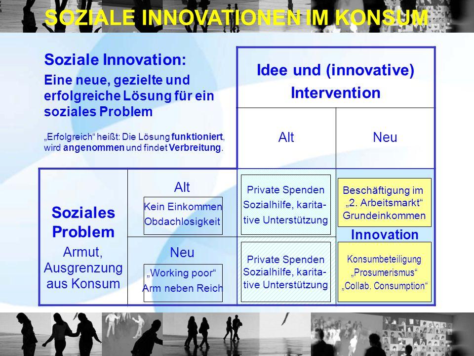Soziale Innovation: Eine neue, gezielte und erfolgreiche Lösung für ein soziales Problem Erfolgreich heißt: Die Lösung funktioniert, wird angenommen und findet Verbreitung.