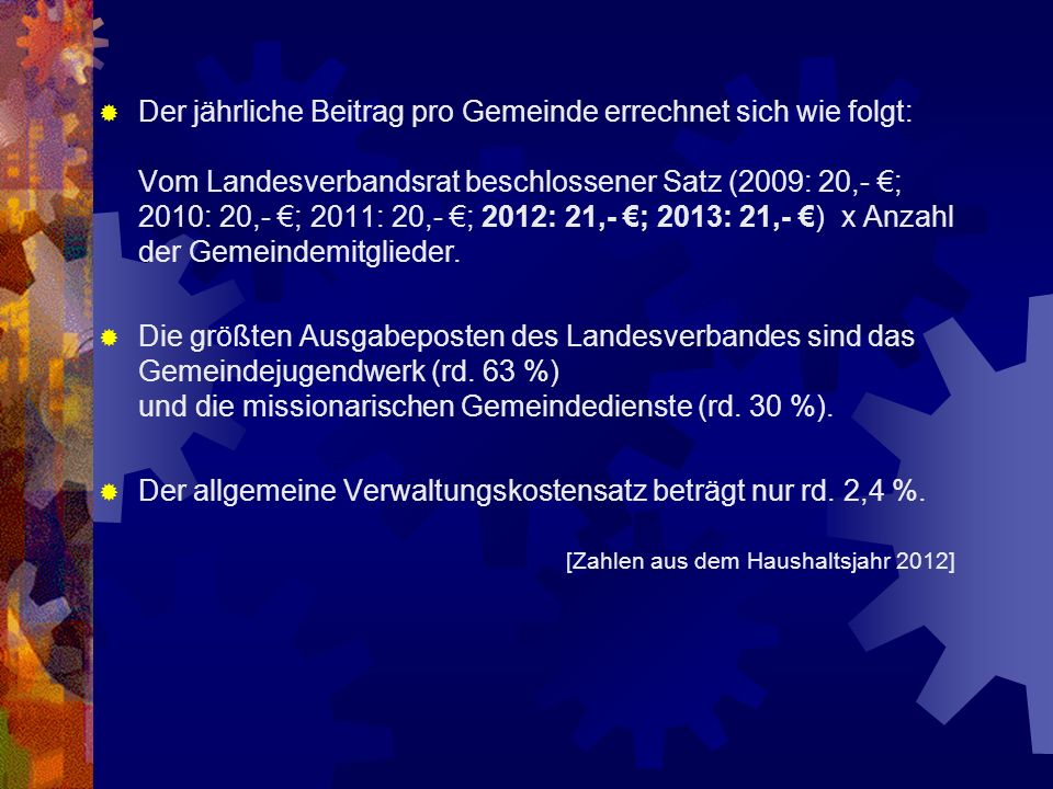 Der jährliche Beitrag pro Gemeinde errechnet sich wie folgt: Vom Landesverbandsrat beschlossener Satz (2009: 20,- ; 2010: 20,- ; 2011: 20,- ; 2012: 21