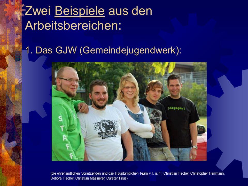 Zwei Beispiele aus den Arbeitsbereichen: 1. Das GJW (Gemeindejugendwerk): (die ehrenamtlichen Vorsitzenden und das Hauptamtlichen-Team v. l. n. r. : C