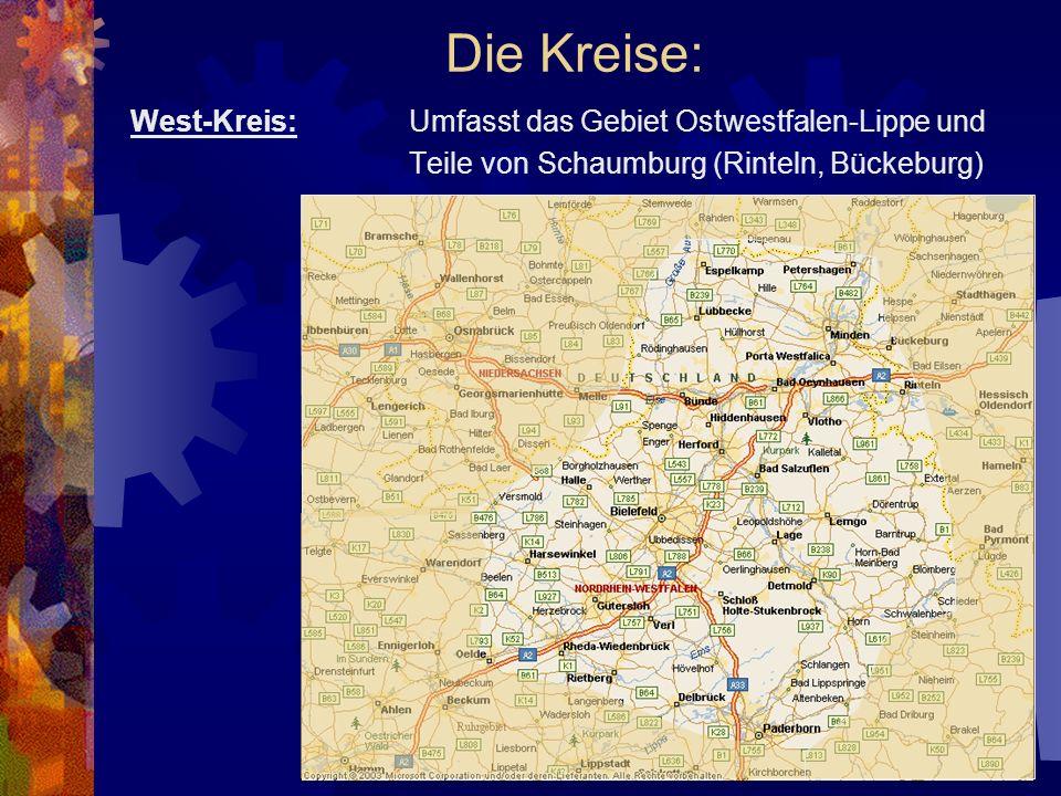 Die Kreise: West-Kreis: Umfasst das Gebiet Ostwestfalen-Lippe und Teile von Schaumburg (Rinteln, Bückeburg)