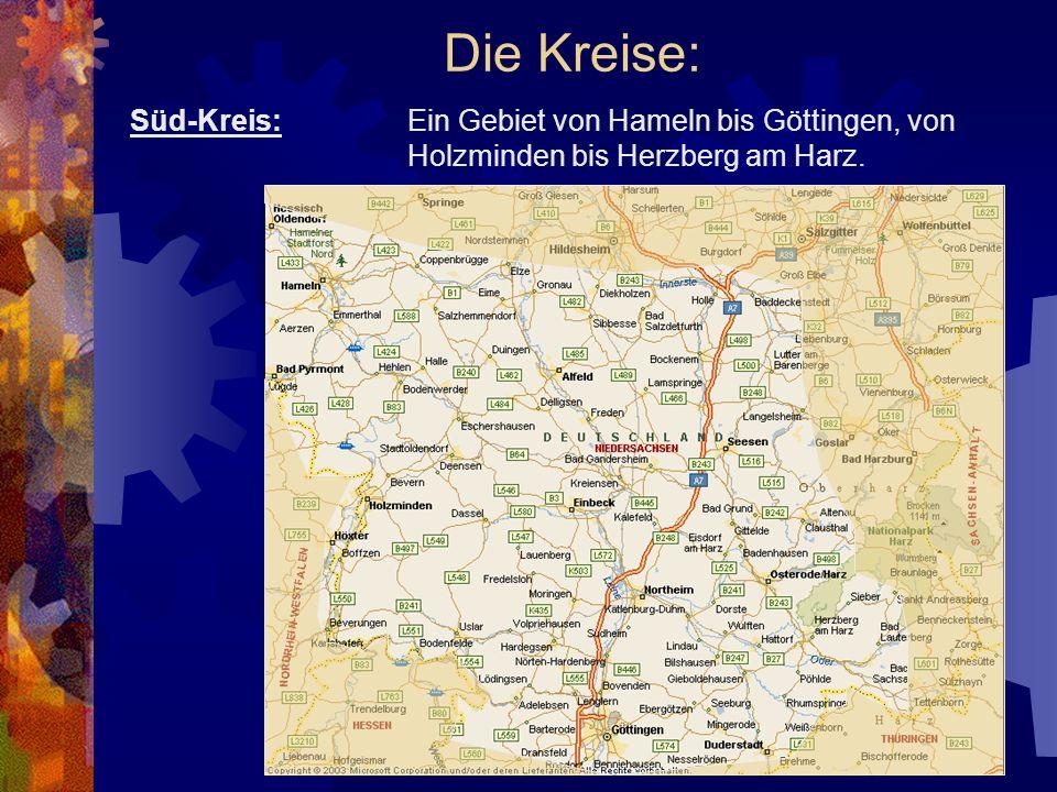 Die Kreise: Süd-Kreis: Ein Gebiet von Hameln bis Göttingen, von Holzminden bis Herzberg am Harz.