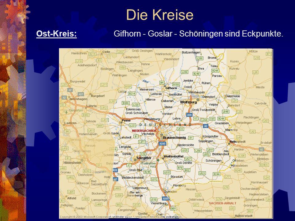 Die Kreise Ost-Kreis: Gifhorn - Goslar - Schöningen sind Eckpunkte.