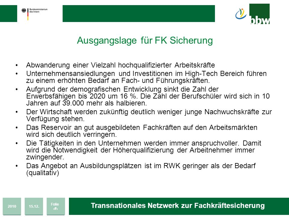 201015.12. Folie 19 Transnationales Netzwerk zur Fachkräftesicherung Ausgangslage für FK Sicherung Abwanderung einer Vielzahl hochqualifizierter Arbei
